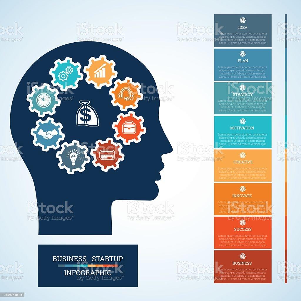 Startup-business-Konzept acht Positionen – Vektorgrafik