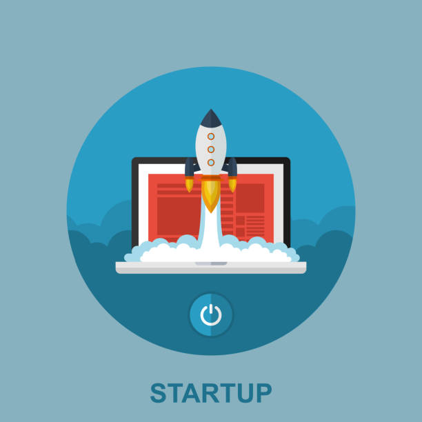 startup business concept. flat vector illustration of laptop with rocketship - abstract of paper spaceship launch to space stock illustrations, clip art, cartoons, & icons
