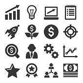 Startup Business Icons Set on White Background. Vector illustration