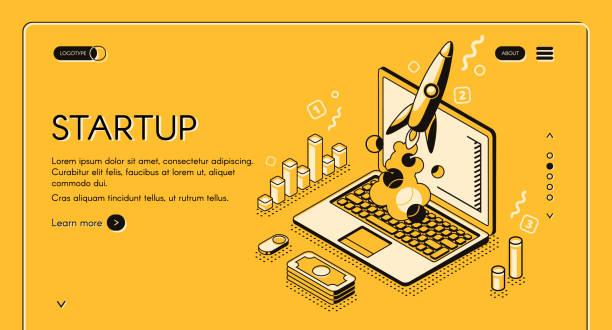 ilustrações, clipart, desenhos animados e ícones de linha isométrica do negócio da partida ilustração do vetor - startup
