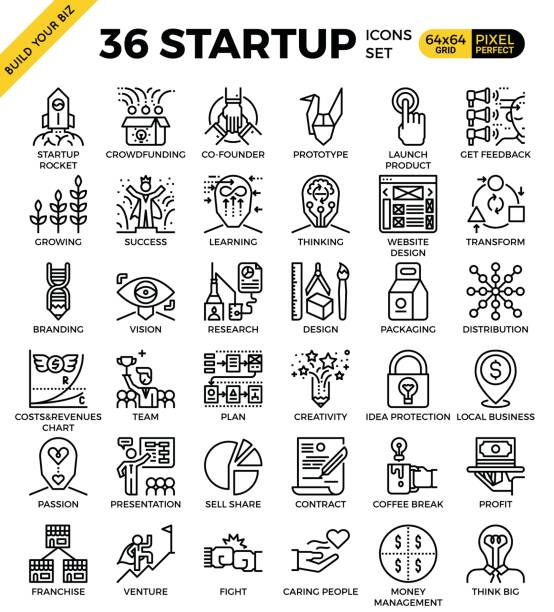 Startup business pixel perfect outline icons vector art illustration