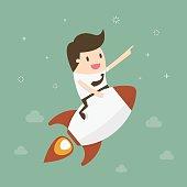 Startup Business. Businessman on a rocket. Flat design business concept illustration.