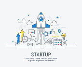 Startup concept with thin line flat modern design for web.
