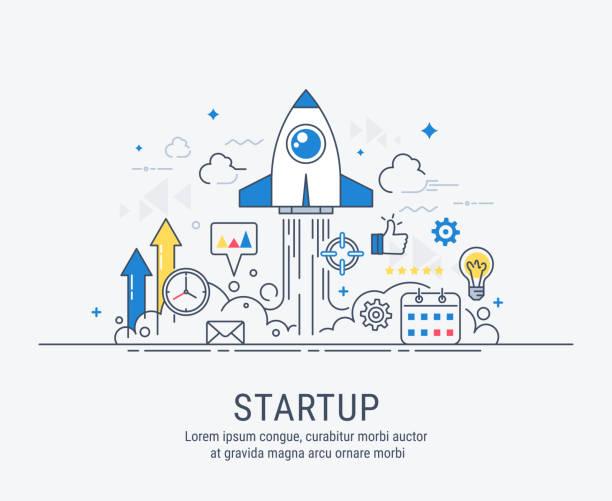 ilustrações, clipart, desenhos animados e ícones de conceito de inicialização com design moderno apartamento de linha fina - startup