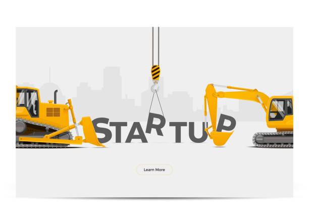 ilustrações, clipart, desenhos animados e ícones de desenvolvimento de construção de edifício de criação de inicialização. ilustração em vetor. - infográficos de site