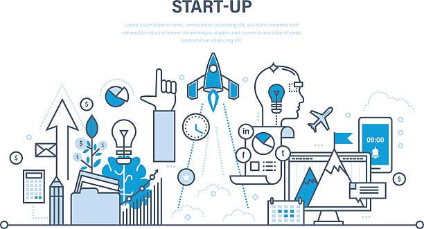 illustrations, cliparts, dessins animés et icônes de startup, creative, business and  processes, the implementation of ideas. - entrepreneur