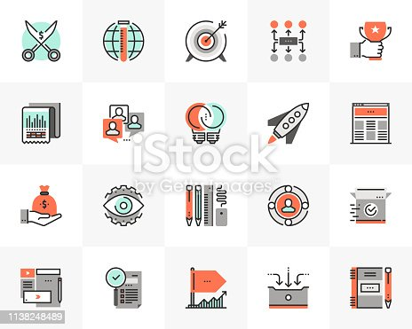 Flat line icons set of startup business and launch new product. Unique color flat design pictogram with outline elements. Premium quality vector graphics concept for web, logo, branding, infographics.