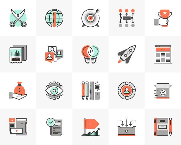 Startup Development Futuro Next Icons Pack vector art illustration
