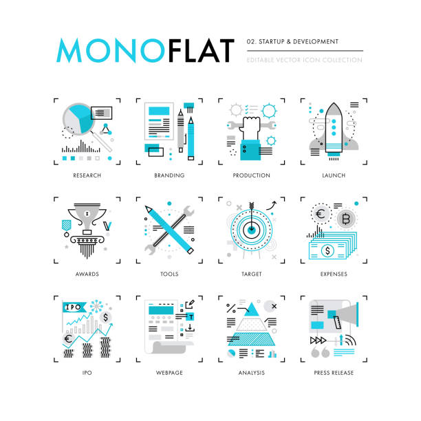 Startup Development Monoflat Icons Infographics icons collection of new business launch, startup development, market research. Modern thin line icons set. Premium quality vector illustration concept. Flat design web graphics elements. budget designs stock illustrations