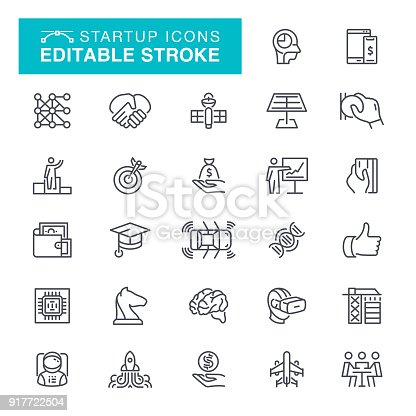 Business & Startup Icon Set Editable Stroke
