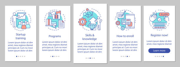 Startup education onboarding mobile app page screen with linear concepts Startup education onboarding mobile app page screen with linear concepts. Business skills improvement walkthrough steps graphic instructions. UX, UI, GUI vector template with illustrations enrollment stock illustrations