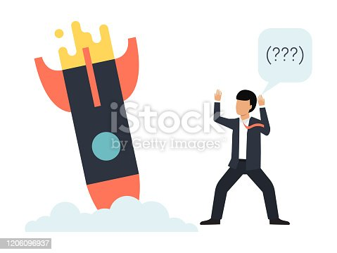 Startup failure vector illustration. Business rockets crash down. Unhappy man and not working creative project. Sad businessman and broken rocket.