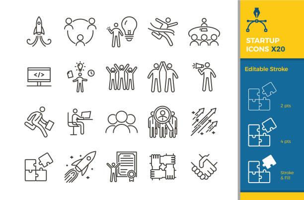 zestaw ikon uruchamiania. 20 wektorowych elementów ilustracyjnych z edytowalnym skokiem dla biznesu, kariery, motywacji, sukcesu, przedsiębiorczości, pracy zespołowej - umiejętność stock illustrations