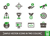 startup simple vector icons in two colors
