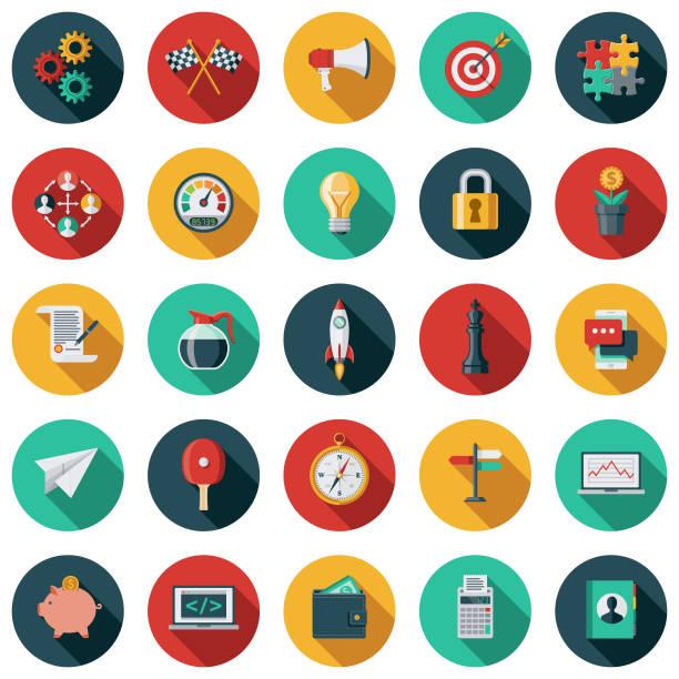 zestaw ikon uruchamiania - kolory stock illustrations