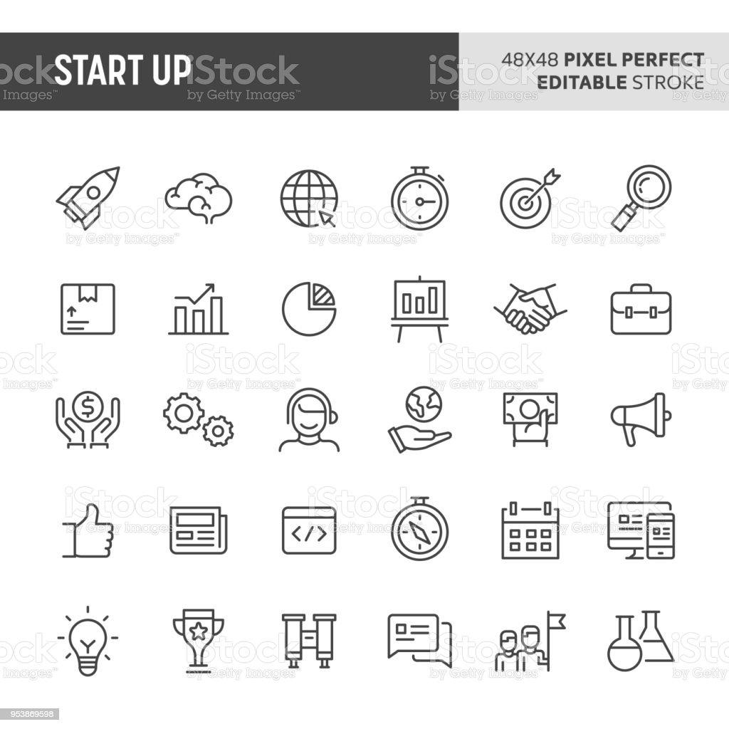 Conjunto de iconos de la puesta en marcha - ilustración de arte vectorial