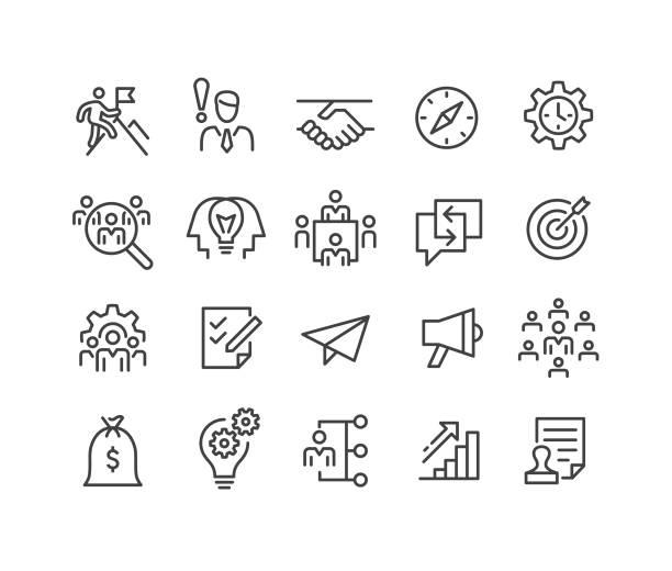 ilustrações, clipart, desenhos animados e ícones de ícones da partida-série clássica da linha - entrepreneurship