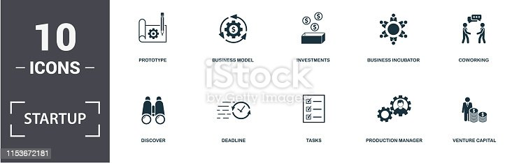 Startup icons set collection. Includes simple elements such as Competition, Prototype, Business Model, Investments, Business Incubator, Discover and Deadline premium icons.
