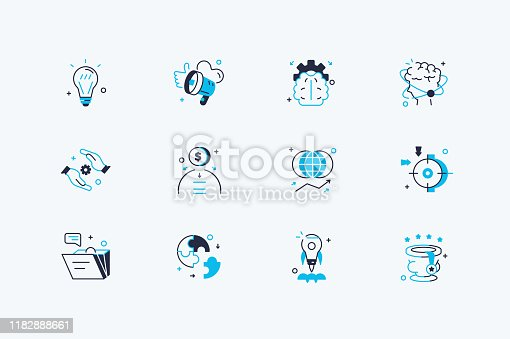 Startup icons set vector illustration. Collection consist of universal symbols for web and mobile applications flat style concept. Isolated on white background