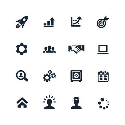 startup icons set on white background