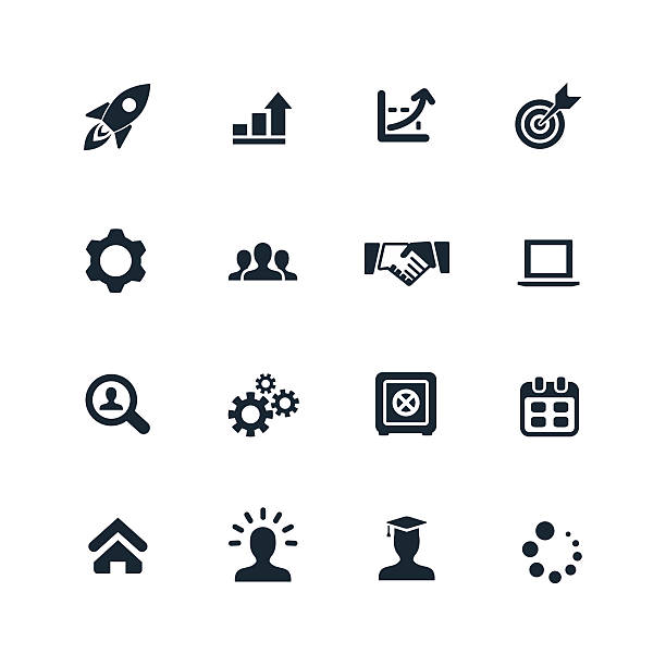 stockillustraties, clipart, cartoons en iconen met startup icons set - orthografisch symbool
