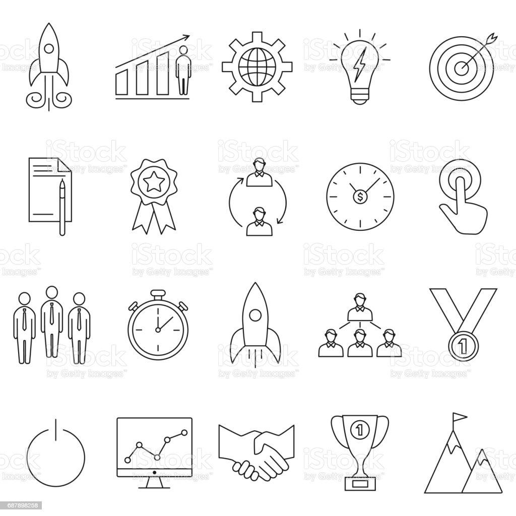 startup icons set vector art illustration