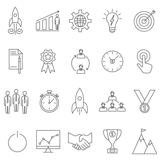 Inbetriebnahme icons set – Vektorgrafik