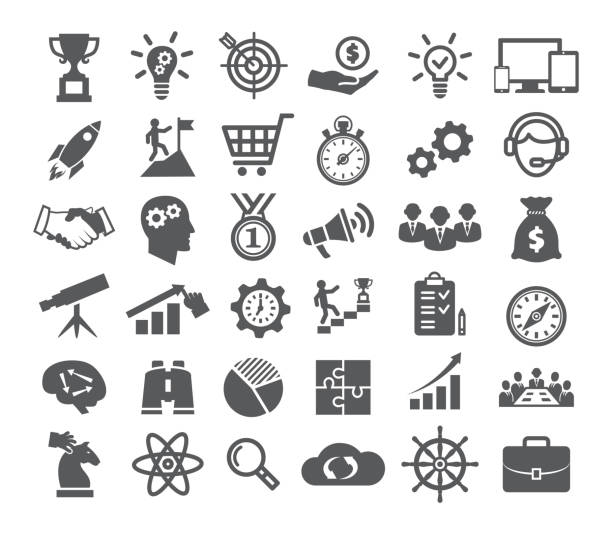 stockillustraties, clipart, cartoons en iconen met opstarten icons set - leiderschap