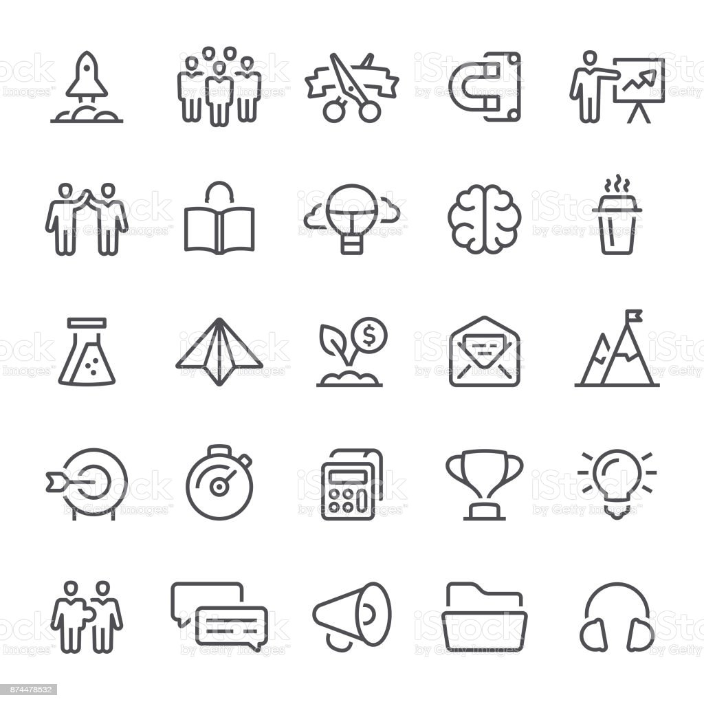 Startup Icons vector art illustration