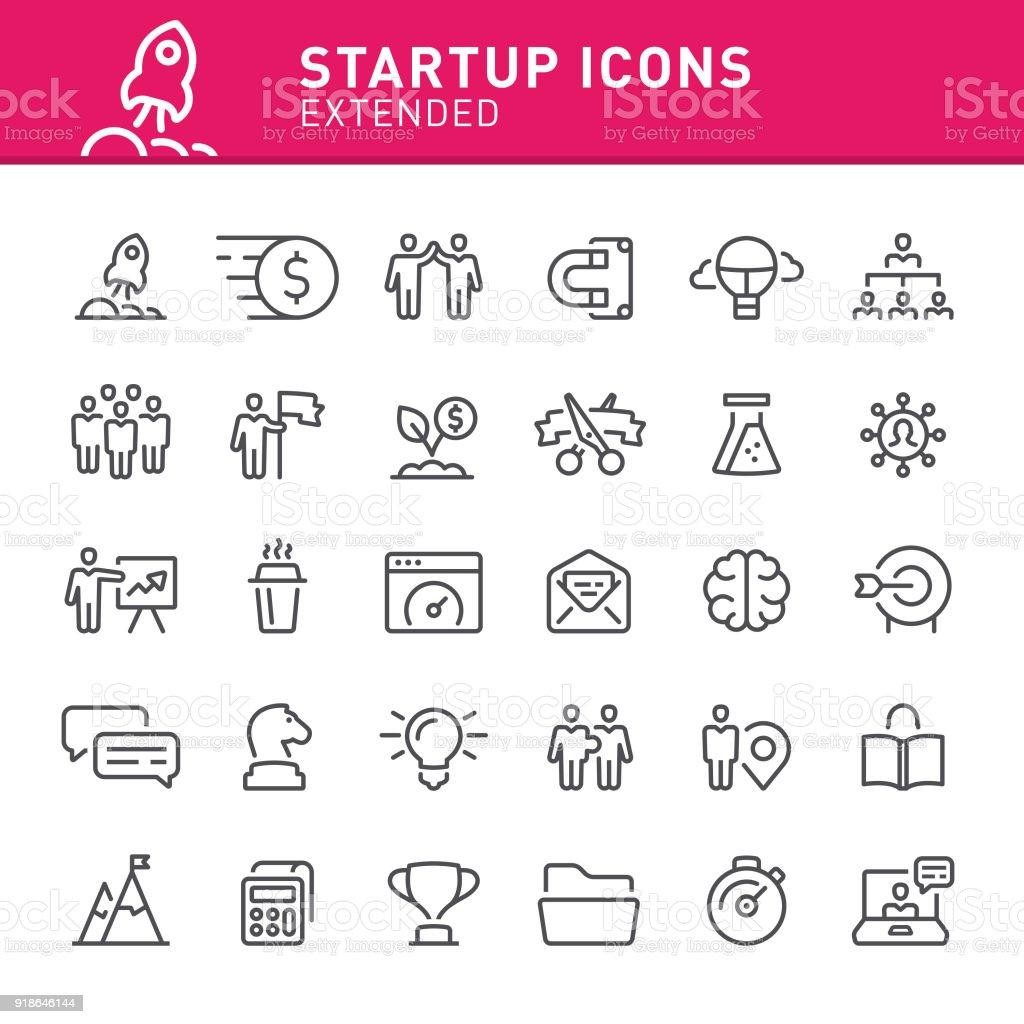 Startup Icons vector art illustration