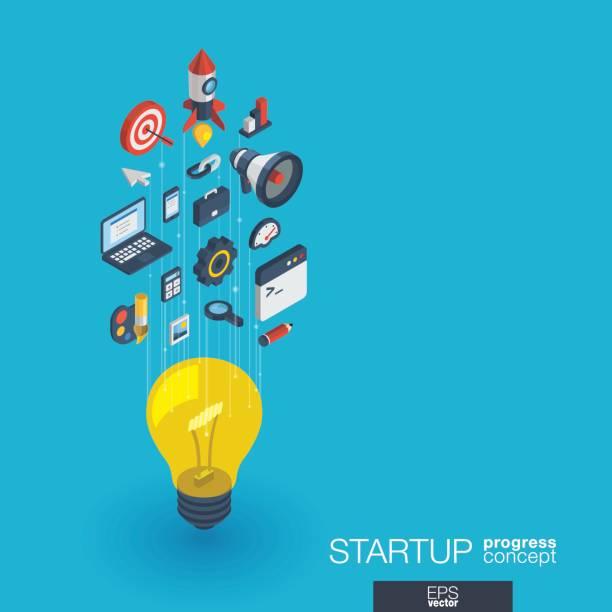 ilustrações, clipart, desenhos animados e ícones de inicialização integrado 3d web ícones. conceito de crescimento e progresso - startup