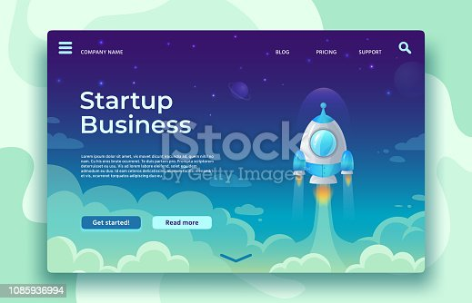 Startup launch landing page. Rocket launch, easy business start and futuristic space travel. Creative mobile app or website strategy idea development vector concept illustration