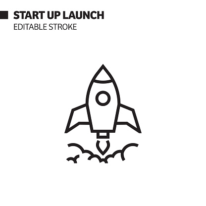Startup Launch Line Icon, Outline Vector Symbol Illustration. Pixel Perfect, Editable Stroke.