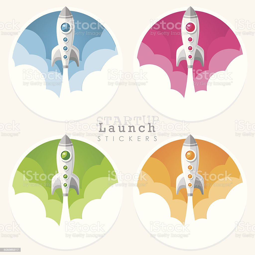 startup launch rocket icon stickers vector art illustration
