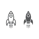 istock Startup line and glyph icon, development and business, rocket sign vector graphics, a linear pattern on a white background, eps 10. 936469970
