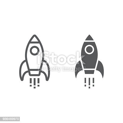 Startup line and glyph icon, development and business, rocket sign vector graphics, a linear pattern on a white background, eps 10.