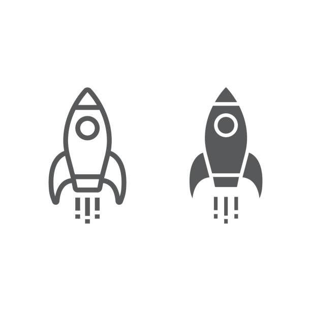 Startup line and glyph icon, development and business, rocket sign vector graphics, a linear pattern on a white background, eps 10. Startup line and glyph icon, development and business, rocket sign vector graphics, a linear pattern on a white background, eps 10. rocket stock illustrations