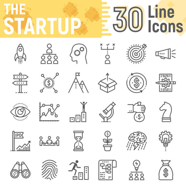 startup line icon set, development symbols collection, vector sketches, logo illustrations, business finance signs linear pictograms package isolated on white background, eps 10. - start stock illustrations