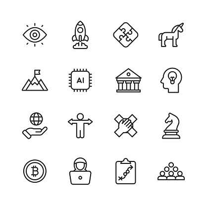 Startup Line Icons. Editable Stroke. Pixel Perfect. For Mobile and Web. Contains such icons as Unicorn, Growth, Programming, Venture Capital, Video Conference, Deal, Agile, Mobile App, Vision, Goal, Achievement, Founder, Entrepreneur, Cryptocurrency.