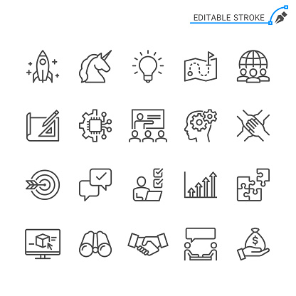 Startup line icons. Editable stroke. Pixel perfect. clipart