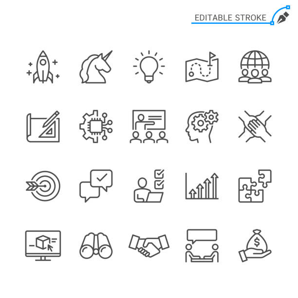 illustrazioni stock, clip art, cartoni animati e icone di tendenza di startup line icons. editable stroke. pixel perfect. - project