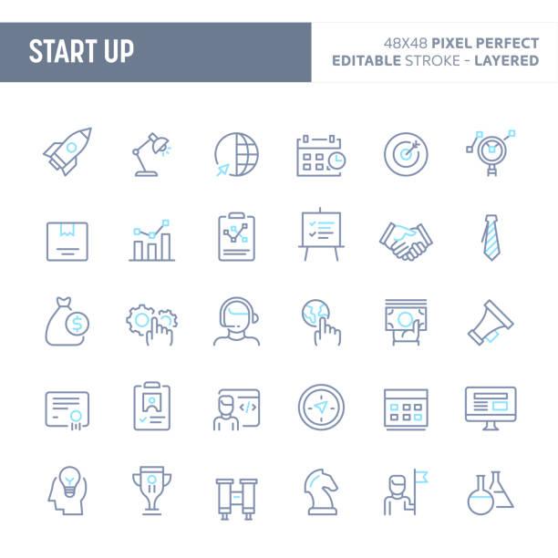 ilustrações, clipart, desenhos animados e ícones de conjunto de ícones arranque mínimo vetor (eps 10) - startup