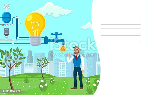 Startup Monetization Process Vector Illustration. Entrepreneur Cartoon Character. Business development. Mechanism for Idea to Money Transformation. Notebook Page, Cover Template with Empty Lines