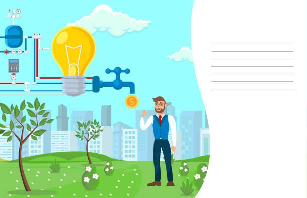 bildbanksillustrationer, clip art samt tecknat material och ikoner med startup monetarisering process vektor illustration - changing bulb led