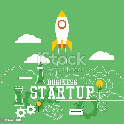 istock startup new business banner for your new business. vector illustration 1126603138