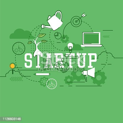 istock startup new business banner for your new business. vector illustration 1126603146