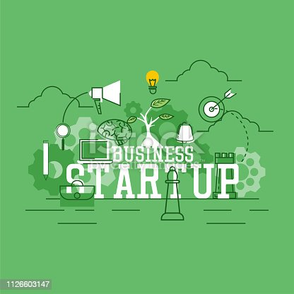 istock startup new business banner for your new business. vector illustration 1126603147