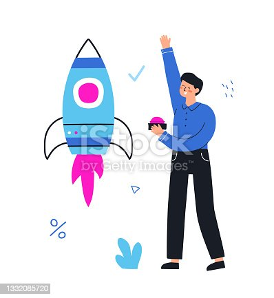 istock Startup new business project. Businessman launches a rocket. Vector flat hand drawn illustration. 1332085720