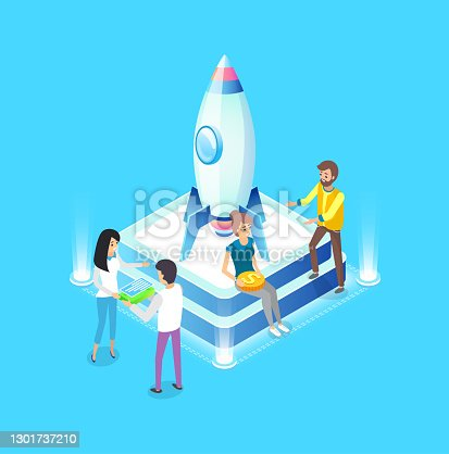 Teamwork of people vector, business startup, isometric 3d planning new strategy, flight and man holding money and gold coin project development rocket