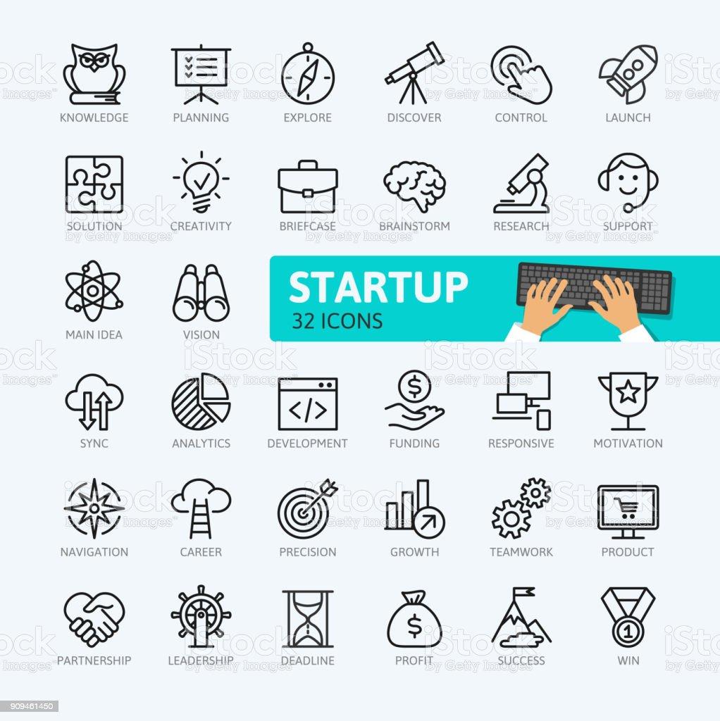 Proyecto de inicio y el desarrollo - colección de iconos de contorno mínimo. - ilustración de arte vectorial